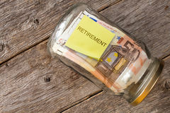 Retirement money jar Stock Image