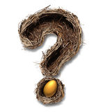 Retirement Nest Egg Questions. And savings as a financial planning business concept with a bird nest metaphor shaped as a question mark with a golden egg on a Royalty Free Stock Photo