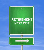Retirement. Next Exit - road sign concept Royalty Free Stock Photo