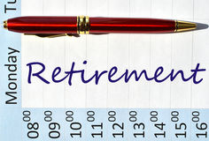Retirement note. Retirement  note in the agenda Stock Photography