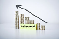 Retirement. Note on moving up coins Royalty Free Stock Photo