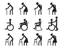 Retirement, old people and patient,cripple icon set Stock Photos