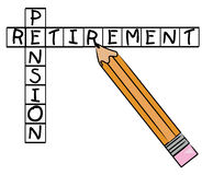 Retirement pension crossword. Pencil filling in crossword with the words - pension and retirement - vector Stock Image