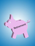Retirement Pig. Bank,pig shaped with retirement on the side Stock Images