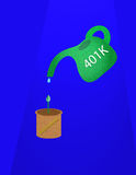 Retirement Plan. 401k watering can dripping small amount of water with dollar sign into a pot with sprout,conceptual for financial planning and retirement Royalty Free Stock Photos