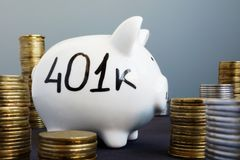 Retirement plan. Piggy bank with word 401k. Retirement plan concept. Piggy bank with word 401k royalty free stock images
