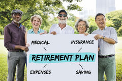 Retirement Plan Diagram Graphic Concept. Retirement Plan Insurance Diagram Graphic Stock Images