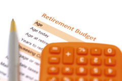 Retirement plan document with pen and calculator Royalty Free Stock Photography