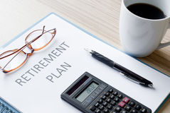 Retirement plan. Documents and pen Royalty Free Stock Image