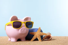 Retirement plan, pension fund, vacation, travel savings concept, Piggy Bank beach Stock Photos