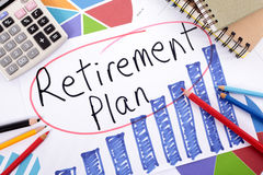 Retirement plan, pension fund growth planning Stock Photos