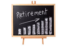 Retirement planning investment savings growth chart on blackboard Royalty Free Stock Photo