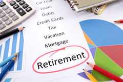 Retirement planning checklist Stock Image
