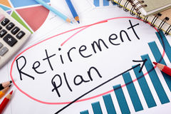 Retirement planning, pension fund growth chart Royalty Free Stock Photos