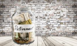 Retirement. Pension currency savings jar coin penny Royalty Free Stock Photography