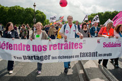 Retirement Rights Demonstration, Paris, France. Tens of thousands of workers, mainly from the public sector, staged a show of force today against President Royalty Free Stock Photos
