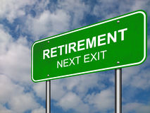 Retirement Road Sign Announcement. Conceptual Illustration Royalty Free Stock Photos
