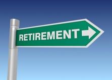Retirement road sign 3d illustration. Retirement road sign 3d concept illustration on sky background Stock Images
