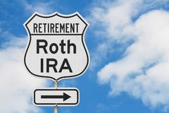 Retirement with Roth IRA plan route on a USA highway road sign. With sky background stock image
