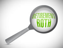 Retirement roth magnify glass sign Royalty Free Stock Photos