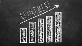 Retirement saving concept on blackboard. Retirement saving concept on black chalkboard. Growing Diagram with arrow Stock Photos