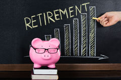 Retirement Saving Concept On Blackboard Royalty Free Stock Photography