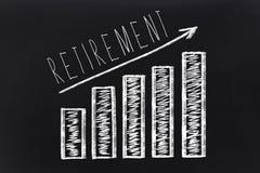 Retirement saving concept on blackboard. Retirement saving concept on black chalkboard. Growing Diagram with arrow Royalty Free Stock Photo