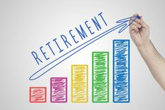 Retirement saving concept on whiteboard. Hand drawing Growing Diagram with arrow Stock Photography