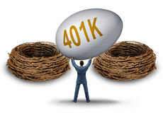 Retirement Savings Choice. Dilemma with a businessman lifting and  holding up a giant investment 401 k egg deciding on a strategy for the best nest to invest Stock Image
