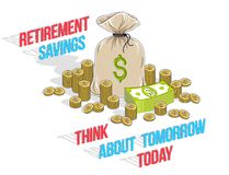 Retirement savings concept, big money bag with cash money dollar. Stack and coins cartoon isolated over white background. Vector 3d isometric business and stock illustration