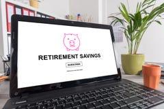 Retirement savings concept on a laptop Stock Photos