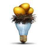Retirement Savings Idea. As a financial concept for finance planning as a golden nest egg  resting in a light bulb as a banking and wealth management solution Stock Photos