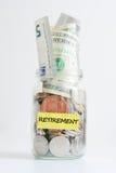 Retirement savings jar Stock Image