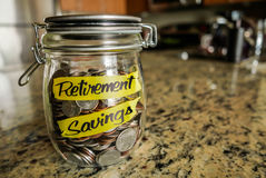 Retirement Savings Money Jar Stock Photography