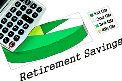 Retirement savings pie chart Stock Photos