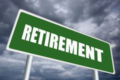 Retirement sign. Illustration of retirement road sign over gloomy sky Royalty Free Stock Photos