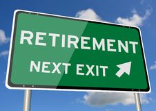 Retirement signpost roadsign next exit blue sky royalty free stock images