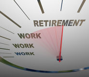 Retirement Speedometer Racing to End of Work Career Stock Images