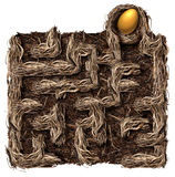 Retirement Strategy. Retirement savings strategy nest egg symbol as a financial planning business concept with a bird nest shaped as a maze or labyrinth with a Royalty Free Stock Photo