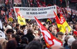 Retirement strike in Paris Royalty Free Stock Photos