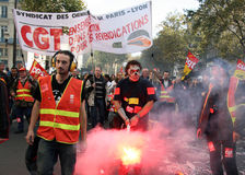 Retirement strike in Paris. PARIS - OCTOBER 28: The Paris - Lyon train drivers march during the strike against the retirement age reform on October 28, 2010 in Stock Photos