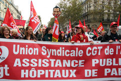 Retirement strike in Paris Royalty Free Stock Photo