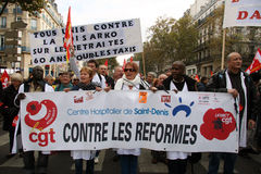 Retirement strike in Paris Stock Photo