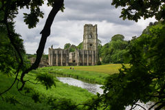 Retirement stroll. A stroll though the countryside of fountains abbey, england Royalty Free Stock Images