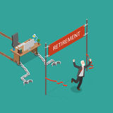 Retirement vector flat isometric illustration. Royalty Free Stock Photo