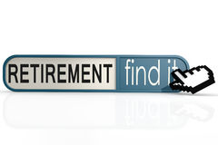 Retirement word on the blue find it banner Royalty Free Stock Images