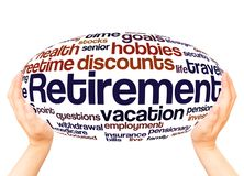 Retirement word cloud hand sphere concept. On white background stock photo