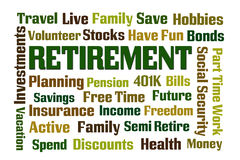 Retirement. Word cloud on white background Royalty Free Stock Image