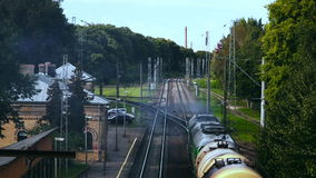 Retiring freight train. Shot from above stock footage