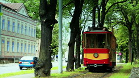 Retiring retro tram (1909-1910 model), close-up. Riga's Retro tram is a 1909-1910 model fully restored in 1982, based on old drawings and photos stock video